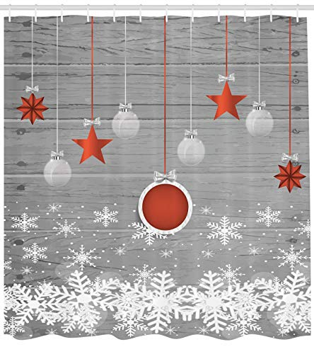 (Ambesonne Red Holiday Star Ornaments and Snowflake & Gray Christmas Fabric Shower Curtain)