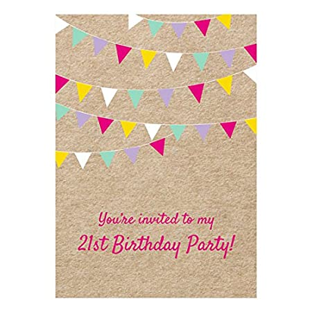 Vintage Party Bunting Birthday Invitations Pack of 10 18th 21st