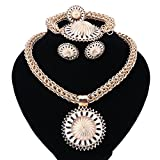 Africa Golden Big 3D Wire Woven Ball Pendant Fashion Costume Necklace Jewelry Set