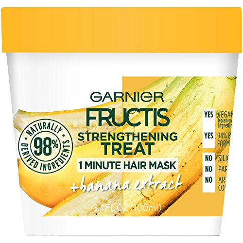 Garnier Fructis Strengthening Treat 1 Minute Hair Mask with Banana Extract, 3.4 Ounce