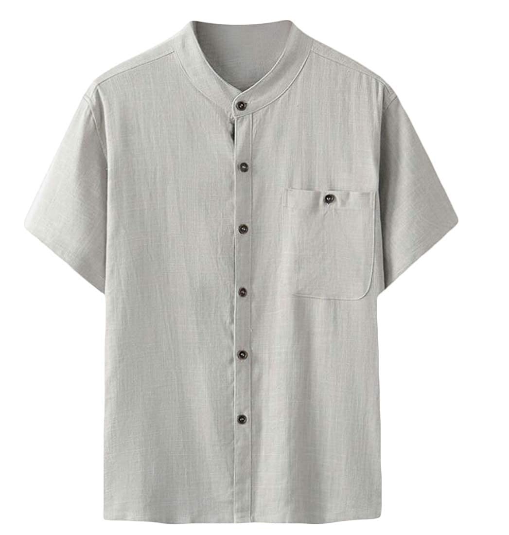 Lutratocro Mens Thin Short Sleeve Button Down Linen Beach Casual Shirts