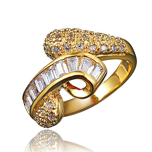 Popular 80's Couples Costumes (BLOOMCHARM 18K Gold Plated Stylish Engagement Wedding Eternity Ring, Gifts for Women Girls)