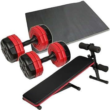 フラットベンチ レッド 2個セット 10kg 保護マット ラバーダンベル ダンベルトレーニング 4点セット 10kg