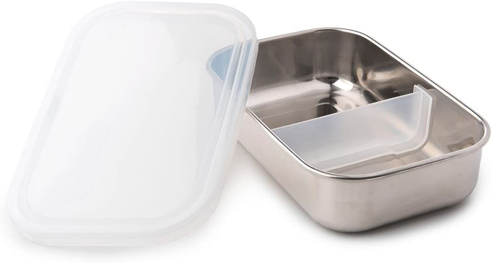U Konserve - Divided Rectangle, Stainless Steel with Removable Dividers, Multiple Containers in One, Ideal for Lunches, Picnics and Travel, Dishwasher Safe (Stainless/Clear)