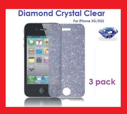 PowerDigital(TM) DIAMOND Crystal Clear Sparkling Glitter Screen Protectors for iPhone 3G / 3GS (3 PACK) (Screen Iphone Clear 3g)