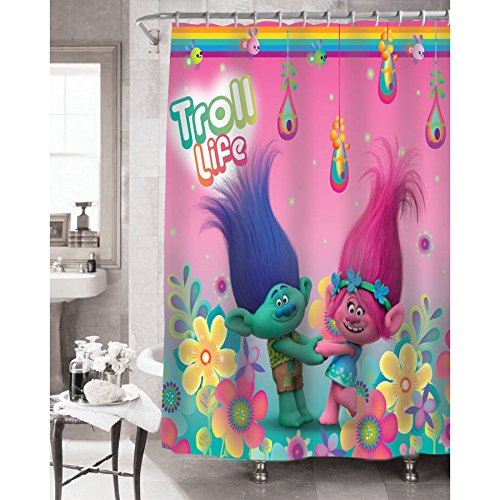 Trolls Shower Curtain, Hooks, Bath and Hand Towel, Bath Mat, Wastebasket, and Washcloths by Trolls