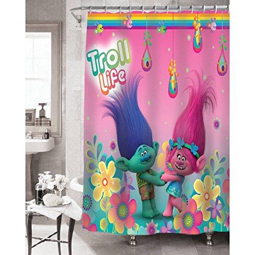 Trolls Shower Curtain, Hooks, Bath and Hand Towel, Bath Mat, Wastebasket, and Washcloths