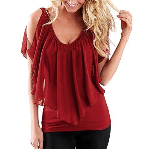 t Blouse Chemisiers Rouge Off Chiffon Haut Yeesea Femme Shoulder Manches T Chemise shirt gwXqxc0Z5B