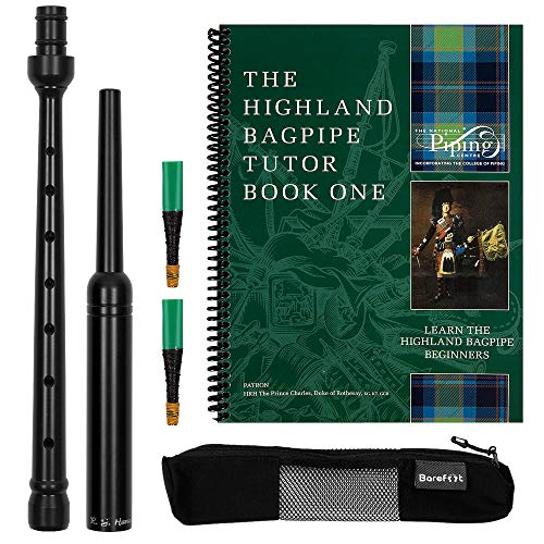 RG Hardie Bagpipe Practice Chanter, College of Piping Tutor Book 1, Breathable Case and Reed Tube with 2 Quality Scottish Reeds Bundle