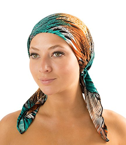 Ashford & Brooks Women's Pretied Fitted Headscarf Chemo Bandana - Green/Brown/Black Abstract