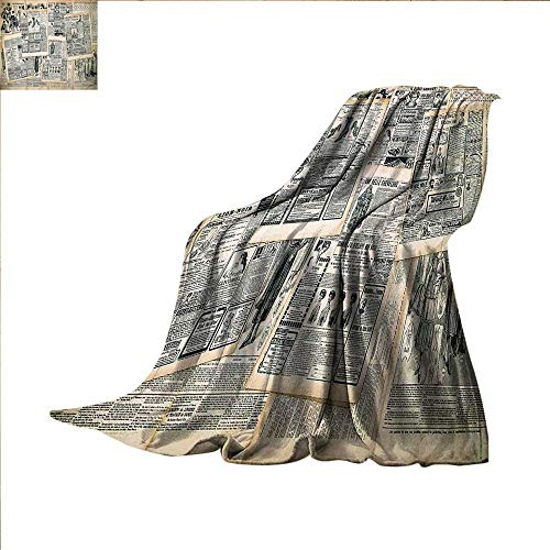 smallbeefly Antique Custom Design Cozy Flannel Blanket Vintage Style Sepia Toned Newspaper Print with Old Fashioned Illustrations Lightweight Blanket 60