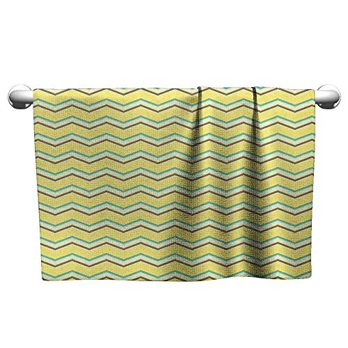 Bensonsve Towel Yellow Chevron,Zigzag Lines in Horizontal Direction Retro Style Display, Yellow Sky Blue Charcoal Grey,Outside Towel Rack for Pool ()