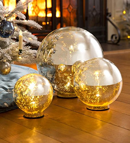 Lighted Mercury Glass Globes Set
