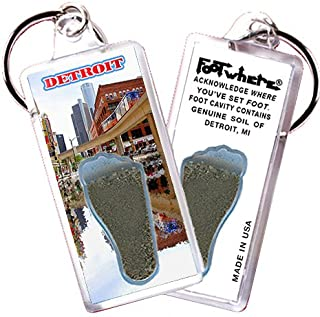 """product image for Detroit""""FootWhere"""" Souvenir Keychain. Made in USA (DT105 - EL)"""