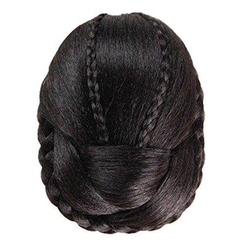 DEESEE(TM) Fashion New Womens Ladies Hair Braided Wig Bun Cosplay Wig (Black) (Adult Silver Werewolf Costume)