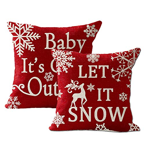 "Price comparison product image Pack of 2 Snowflake Let It Snow Baby It's Cold Outside Animal Elk Deer Merry Christmas Cotton Linen Square Throw Waist Pillow Case Decorative Cushion Cover Pillowcase Sofa 18""x 18"""