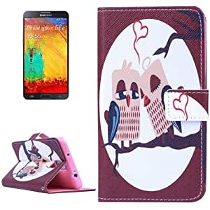 Heart Owls Pattern Horizontal con solapa Magnetic Buckle Leather Case Cover Funda con bolsillos interiores & Wallet & Holder para Samsung Galaxy Note III