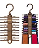 2-PACK Tenby Living Tie Racks, Organizer, Hanger, Holder - Affordable Tie Rack with Non-Slip Clips, Holds Securely up to 20 Ties
