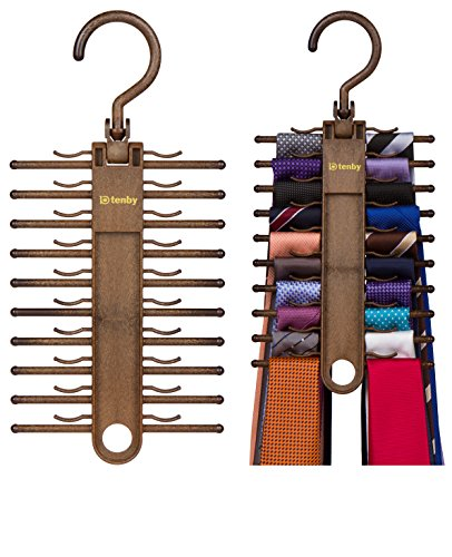 2-PACK Tenby Living Tie Racks, Organizer, Hanger, Holder - Affordable Tie Rac... (Brown Tie Hanger)