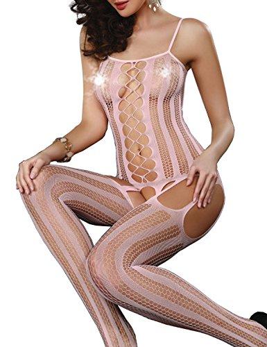 VillyDan Women's Sexy Lingerie Stylish Fishnet BodyStocking One Size (Pink) (Pink Fishnets)
