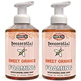 Beessential All Natural Foaming Hand Soap, Orange Essential Oils, Made with Moisturizing Aloe & Honey - Made in the USA, 16 oz 2 Pack