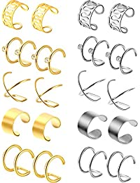 Jovitec 10 Pairs Stainless Steel Ear Cuff Helix Cartilage Clip on Earrings Non Piercing Cartilage Earrings for Women Girls Supplies, 5 Styles