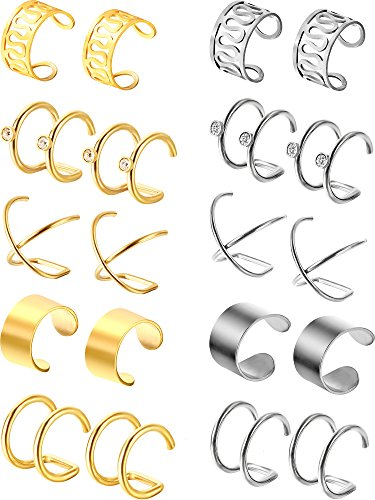 Jovitec 10 Pairs Stainless Steel Ear Cuff Helix Cartilage Clip on Earrings Non Piercing Cartilage Earrings for Women Girls Supplies, 5 Styles (Steel and Gold)