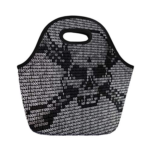 Semtomn Lunch Tote Bag Skull and Crossed Bones Danger Piracy Sign Made Up Reusable Neoprene Insulated Thermal Outdoor Picnic Lunchbox for Men Women (Best Antivirus For Pirates)