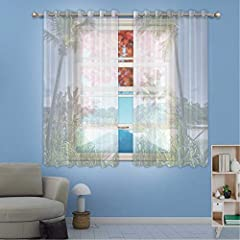 Size:63 INCHES LONG x 76 INCHES WIDE,Measurements are the total of the 2 curtain panels together.       Let in just the right amount of sunlight yet give necessary privacy.        Soften the light that comes in so that the room isn't d...
