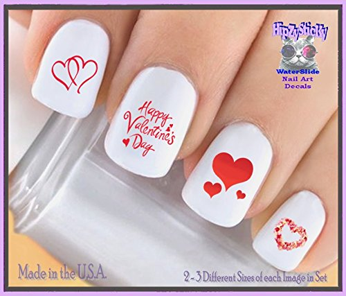 Holiday Valentines Day - Happy Valentines #7603 Red Double Heart Rose Heart Love WaterSlide Nail Art Decals - Highest Quality! Made in USA -