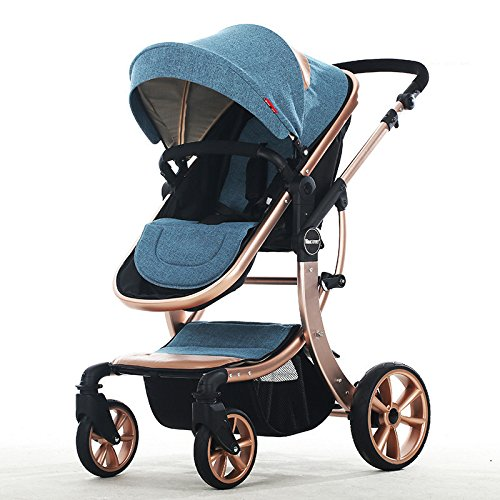 Baby Stroller High Landscape Two way shockproof baby can sit and sleep Baby use four seasons Blue by Aimle