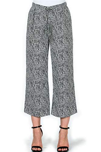(Over Kleshas Womens Abstract Print Crop Flare Woven Pants,Ivory,X-Small )