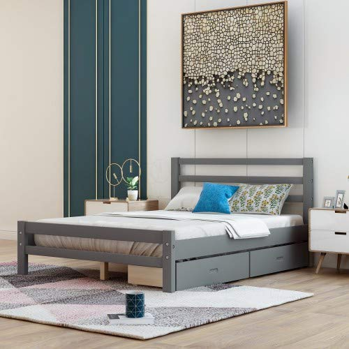 Full Platform Bed with Two Storage Drawers, Baysitone Wood Bed Frame with Headboard/Wood Slat Support/No Box Spring Needed/Easy Assembly (Gray,Full)