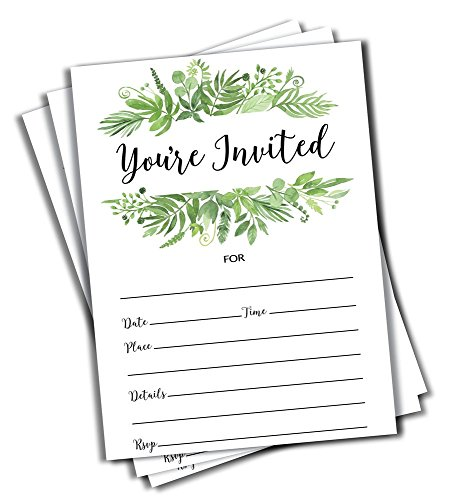 - 50 Greenery Invitations and Envelopes (Large Size 5x7) - Bridal Showers, Baby Showers, Birthday, Anniversary, Any Occasion (50 Count)
