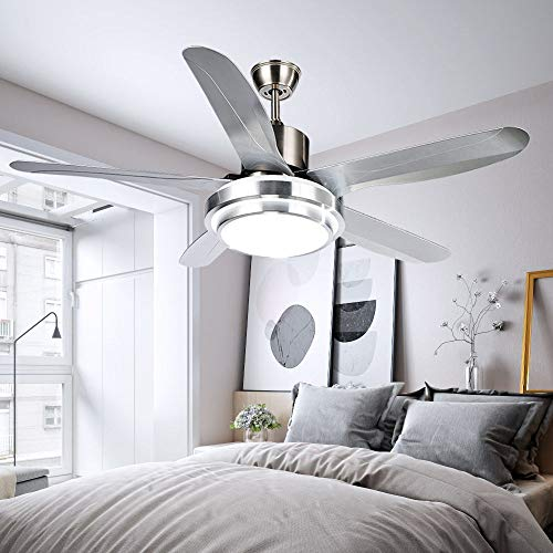 Luxurefan Simple Modern Ceiling Fan Light Durable Decoration for Modern Home Restaurant and 5 Premium Plastic Leaves and Elegant Frosted Shade Remote Mute Chandelier of 52Inch ()