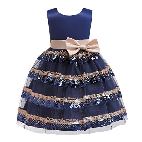 (Girls Princess Swing Dress, Little Lass Bridesmaid Pageant Birthday Party Wedding Gown Dress Bowknot Floral Tutu Dress (Navy, 7-8 Years))