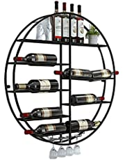 XFPINK Wijnrek Wijnrek, Ronde Wijnflessenhouder, Wandmontage Wijnrek Metaal, Drijvende Wijnplank Organizer Voor Bars, Restaurants, Keukens Stemware Racks Plafond Gebouwd Ophangen