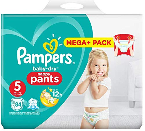 Pampers Baby Dry - Nappy Pants Size 5, for Babies 12-18kg, Pack of 84