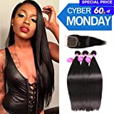 ISEE Hair 7A Malaysian Straight Hair 3 Bundles With Closure Virgin Unprocessed Human Hair Wefts Hair Extensions Deal With Mixed Lengths 18 20 22 Inches With 16 Inches Free Part Closure