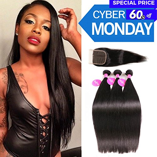 ISEE Hair 7A Malaysian Straight Hair 3 Bundles With Closure Virgin Unprocessed Human Hair Wefts Hair Extensions Deal With Mixed Lengths 18 20 22 Inches With 16 Inches Free Part Closure by ISEE