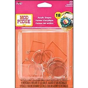Mod Podge Acrylic Shapes, 12918 Basics, Flat and Charm (18-Piece)