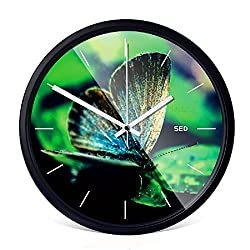 Color Map 12-inch Fashion Concise Butterfly Shape Design Bedroom/living Room Round Ultra Mute Quartz Movement Metal Frame Wall Clock (Butterfly:B, Black)