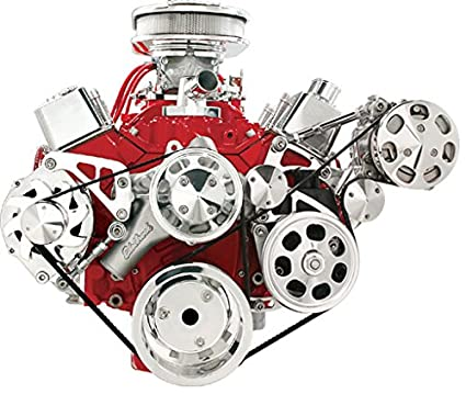 NEW BILLET SPECIALTIES SMALL BLOCK CHEVY POLISHED FRONT ENGINE SERPENTINE  CONVERSION KIT WITH KEYWAY POWER STEERING PUMP PULLEY & BRACKET, AIR