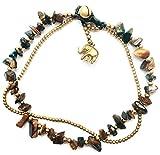 Bijoux De Ja Handmade Brown Jasper Stone Elephant Charm Brass Beads Anklet Bracelet 10 Inches