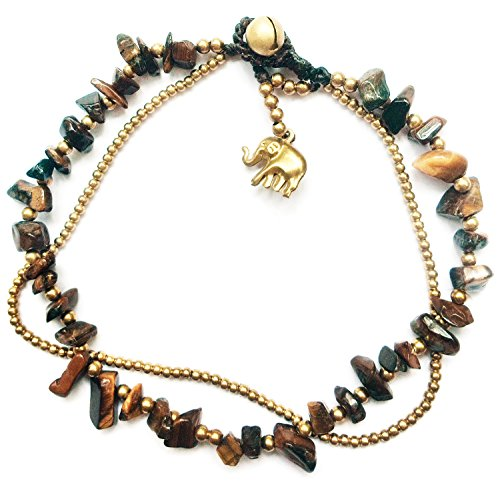 Bijoux De Ja Handmade Brown Jasper Stone Elephant Charm Brass Beads Anklet Bracelet 10 Inches - Boots The Monkey Costume Diy