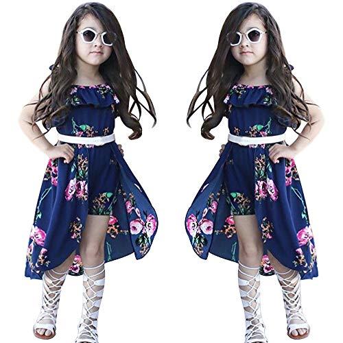 NoNoAnt Kids Girls Summer Sling Sweet Floral Dress Elegant Girl Princess Ruffles Irregular Culotte Dresses 3 - Year (Dark Blue, -