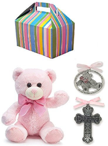 Baby Girl Baptism Gift Set | Pewter Crib Cross, Crib Medal and Plush Teddy Bear