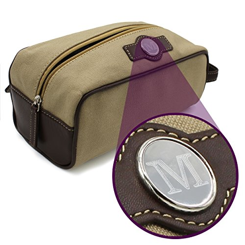 Personalized Toiletry Dopp Shaving Bag Case - Mens Leather Travel Kit - Custom Monogrammed for Free (Tan Canvas and Leather)