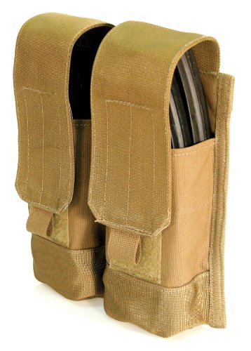 BLACKHAWK! S.T.R.I.K.E. AK 47 Double Mag Pouch (Holds 4, Made in USA), Coyote Tan