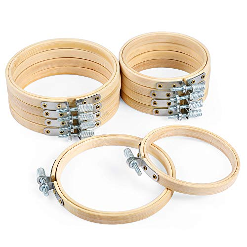 Caydo 10 Piece 3 Inch and 4 Inch Embroidery Hoops Bamboo Circle Cross Stitch Hoop Ring for Christmas Ornament Art Craft Handy Sewing ()
